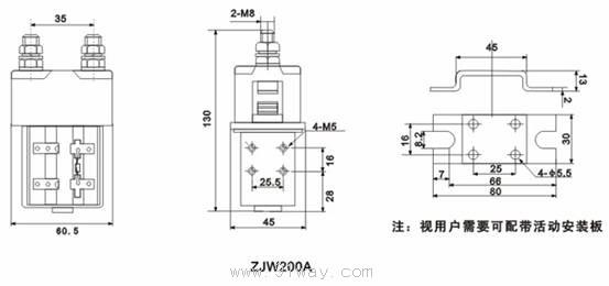 使用条件 1、环境温度:-25~+40; 2、海拔高度:0~2000米; 3、25最大相对湿度:90%; 4、固定处的振动:10~50Hz,10m/s2; 5、冲击:30m/ s2; 6、安装方向:任意 7、电源电压波动范围:0.7-1。1Ue 8、工作制:8H长时 外型安装图  线路原理图  产品型号含义  ZJW200A型直流接触器