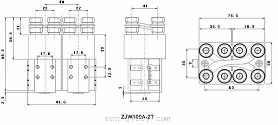 使用条件 1、环境温度:-25~+40; 2、海拔高度:0~2000米; 3、25最大相对湿度:90%; 4、固定处的振动:10~50Hz,10m/s2; 5、冲击:30m/ s2; 6、安装方向:任意 7、电源电压波动范围:0.7-1。1Ue 8、工作制:8H长时 外型安装图  线路原理图  产品型号含义