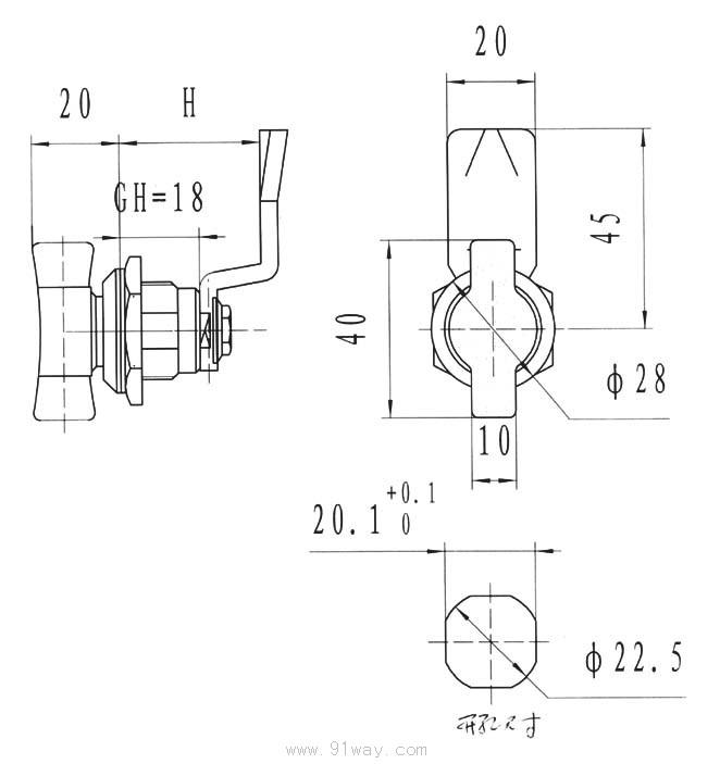 MS715-2电柜门锁产品简介 1.材质:锌合金锁体、螺母;塑料手柄;镀锌钢板钢栓; 2.表面处理: 无光黑(CS01) 3.结构功能:密封防水平面锁;左右开门通用; 4备注 remarks适用门板厚度:1.2-8mm;配其它钢栓见 页,钢栓开孔8 X8;