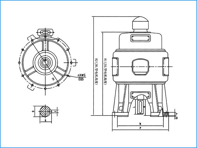 JRL系列6KV高压三相绕线转子异步电动机外形尺寸