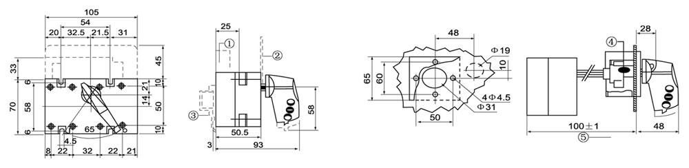 选型举名例:额定电流630A,有中性极转换一隔离开关,柜外操作 DGL Z-630A/4J  DGL-40~63A  正面直接操作 正面柜外操作 1.常开/常闭预断开辅助触点 2.端子护屏 3.DIN轨道固定用的夹子 4.手柄锁具滑动锁舌宽30mm 5.带加长连轴的最小长度:1251 DGL-80~100A  正面直接操作 正面柜外操作 1.