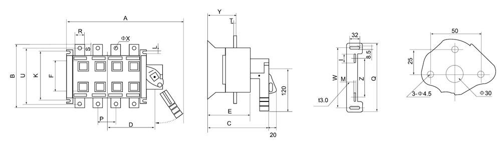 选型举名例:额定电流630A,有中性极转换一隔离开关,柜外操作 DGL Z-630A/4J  DGLCK-125~3150A适用于电路的接通与分断或电气隔离。有三级、四极、(三极+可通断中性极) 可根据需要提供有观察窗口的产品,直接观察触头的通断状态。 直接操作:手柄安装在开关右侧。 柜外操作:手柄安装在配电柜柜门外。 根据需要可配装两组辅助触点。 加长轴用于柜外操作。 电气性能与机械性能和DGL-125~3150A电气性能与机械性能对应相同。  DGLCK系列125~630A隔离开关外形与安装尺寸  D