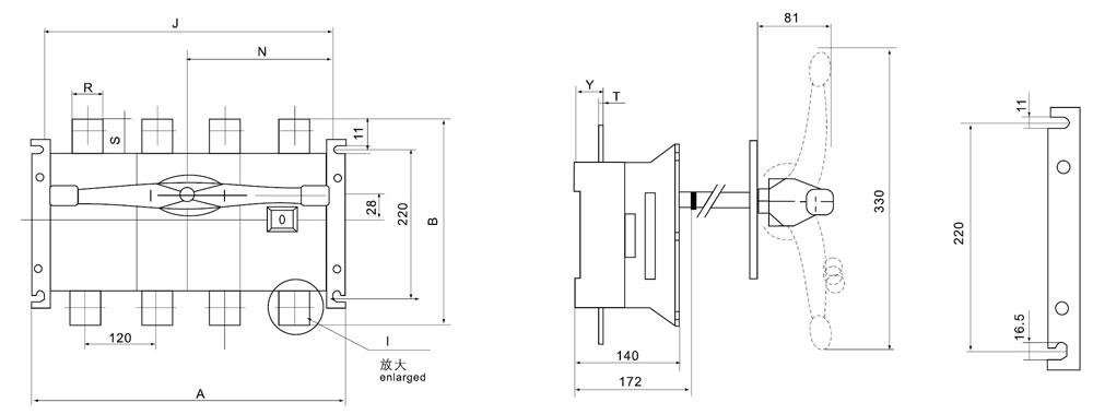 选型举名例:额定电流630A,有中性极转换一隔离开关,柜外操作 DGL Z-630A/4J  125~630A适用于电路的接通与分断或电气隔离,1000A以上只适用于电气隔离。 125~630A有三极、四极(三极+可通断中性极)。 630A以下可根据需要提供有观察窗口的产品,直接观察触头的通断状态。 可根据需要配装两组辅助触点。 电气性能与机械性能和DGL-125~1600A电气性能与机械性能对应相同。 注:仅提供柜外操作产品。  外形与安装尺寸  DGLH-1000~1600A/J柜外操作 安装底脚