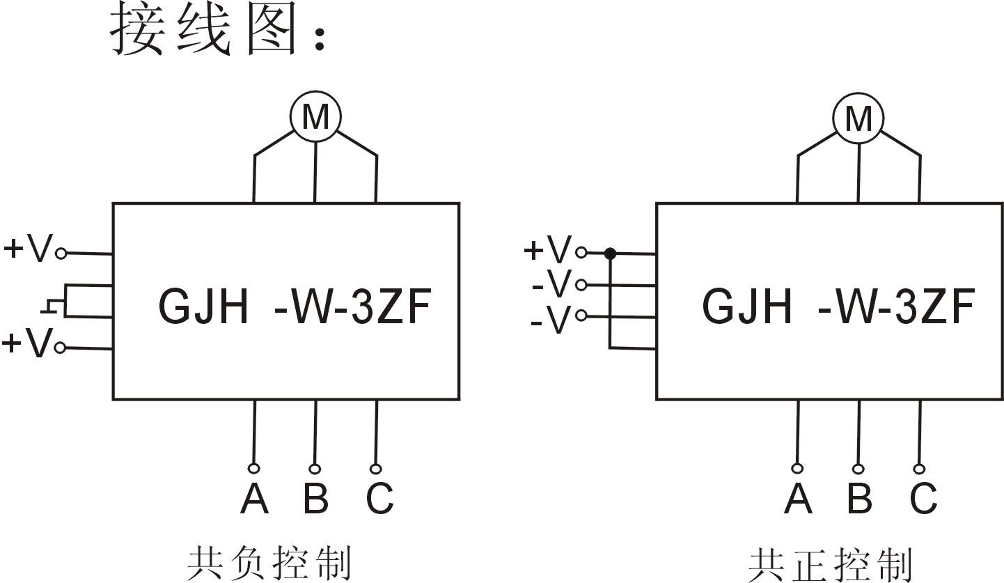 gjh-w-3zf三相电机正反转固态继电器接线图