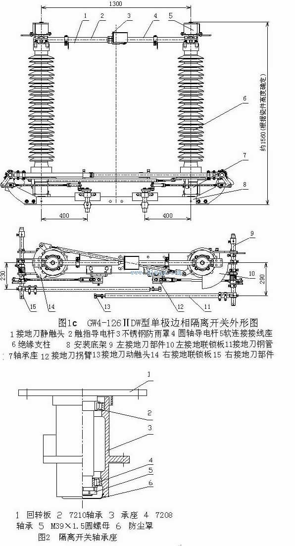 一、概述 GW4-126GW(D)型户外交流高压隔离开关系双柱式三相交流50Hz户外高压开关设备,用于电压110KV的电力系统中,供在有电压无负载时分合电路之用,以及对被检修的高压母线、断路器等电器设备与带电的高压线路进行电器隔离之用。其中防污型的隔离开关可满足重污秽地区用户的要求,并可以有效地解决隔离开关在运行中出现的污闪问题。 GW4系列与CJ5、CJ6、CJ2、CJ11A系列电动操动机构组合,特别适合电力系统和电气化铁路领域对远距离分、合的需要。 GW4-126GW(D)户外高压隔离开关有下列品种: