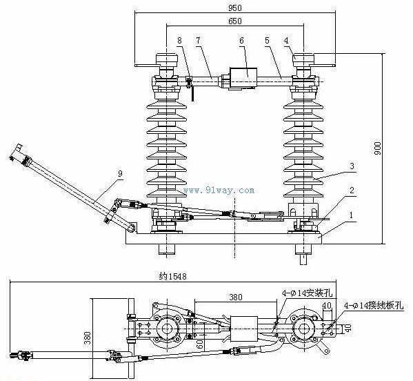 一、用途 GW4-27.5T(D)(W)型电气化铁道户外交流高压隔离开关是频率为50HZ的户外高压电器设备,供交流27.5kV接触网高压线路在有电压无负载情况下进行换接,以及对被检修的高压母线、断路器等电器设备与带电的高压线路进行电气隔离之用。也可用于分、合很小的电容电流和电感电流。 二、使用环境条件 1、海拔高度不超过1000m;2000m 2、环境温度:上限+40,下限-30; 3、风速不超过35m/s; 4 、地震烈度不超过8度; 5、绝缘子污秽等级:防污型为级重污秽(盐密0.