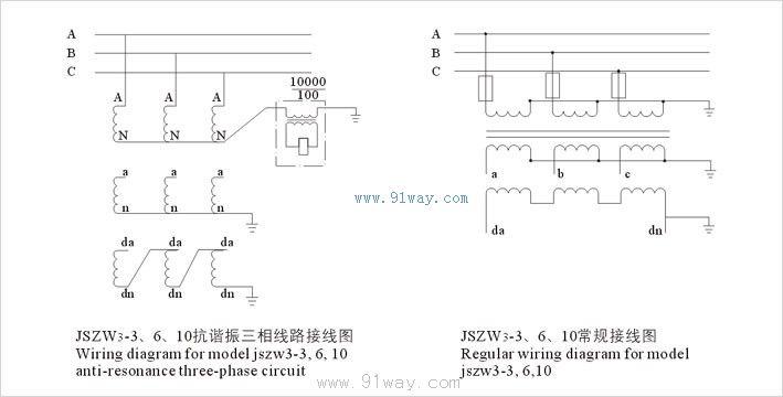 b系列半封闭三相电压互感器接线图