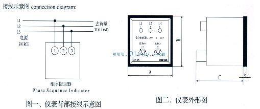 q72-ps相序指示器接线图及外形尺寸