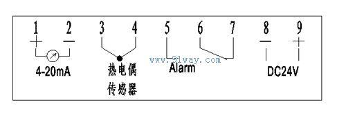 ztc6a型报警输出热电偶温度表接线图