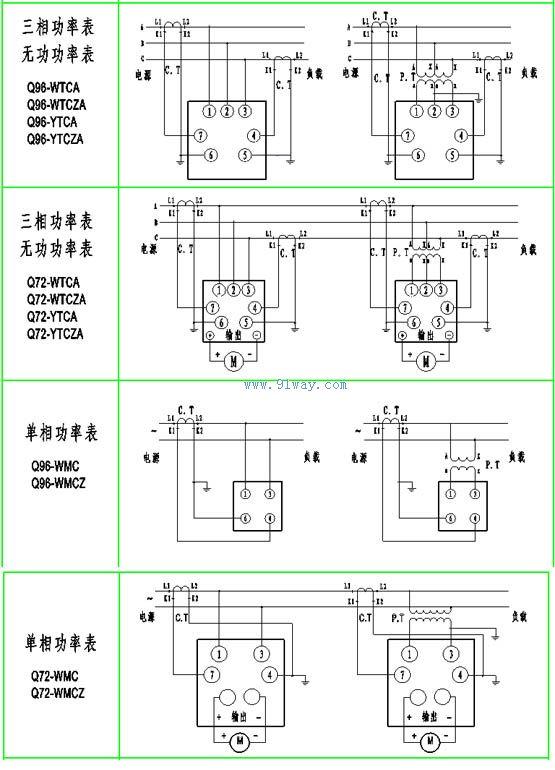 q72-wmcz,q72-wmc单相功率表接线图