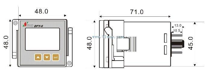 DFY-6相序保护计数器是一种多功能三相电源系统或三相用电设备的监测和保护仪器。集计时计次、三相电压显示、过电压保护、欠电压保护、缺相保护(断相保护)、相序保护(错相保护)于一体。采用中文液晶显示,具有功能齐全、性能稳定、操作简便等特点。 DFY-6相序保护计数器可实时显示三相电源电压,并可在电源发生过压、欠压、缺相、错相等故障时通过继电器输出的形式保护电路动作输出的触点控制信号,起到保护作用。是替代传统的相序继电器和电压继电器的高科技产品。 主要功能 显示电压: 显示当前工作电压值。 过欠压保护:电压过