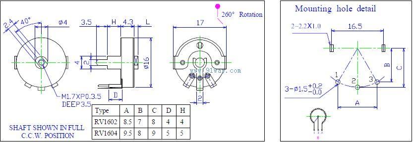 rv16-nb-k6旋转式电位器外形及安装尺寸
