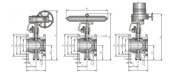 球阀 → bq340f双偏心半球阀    产品名称: bq340f双偏心半球阀 型号图片
