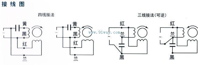 90yy120w单相电容运转异步电动机接线图