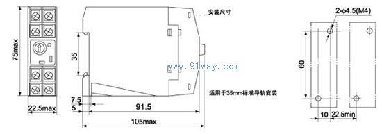 SHZ8 系列超薄型时间继电器具有延时范围宽. 寿命长. 体积小. 触点容易大.安装方便等特点。适用于交流50Hz电压至380V或直流电压至48V的控制电路, 作延时控制元件, 按预定时间接能或分断电路。 使用电压 220V AC 110V AC 24V DC 12V DC 技术参数 延时精度 : 5% 触点容量 : AC220V 5A COS=1 额定功率 :  5W 机械寿命 : 107次 电寿命 : 105次(额定负载) 环境温度 :-5~40 外形尺寸  延时范围  SHZ8,SHZ8-1时间继电