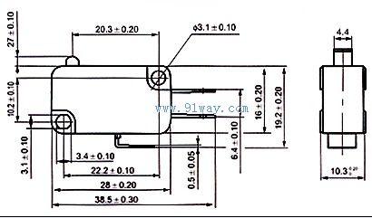 v-155-1c25微动开关安装尺寸