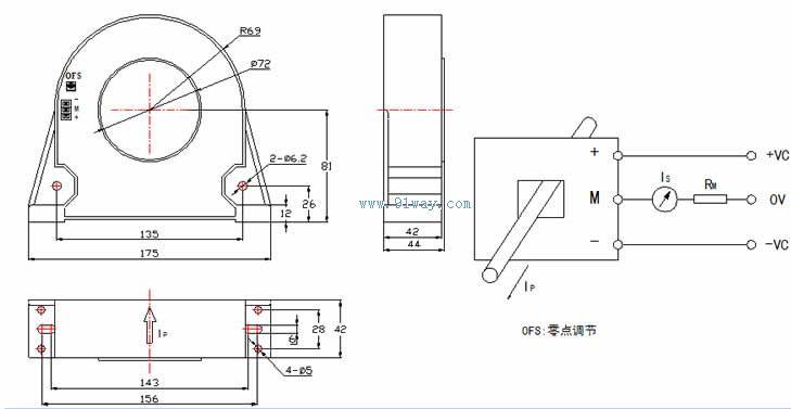 csm2000lte型霍尔电流传感器安装尺寸及接线图