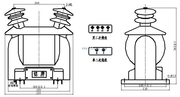 0/12(-1w)型放电线圈安装尺寸
