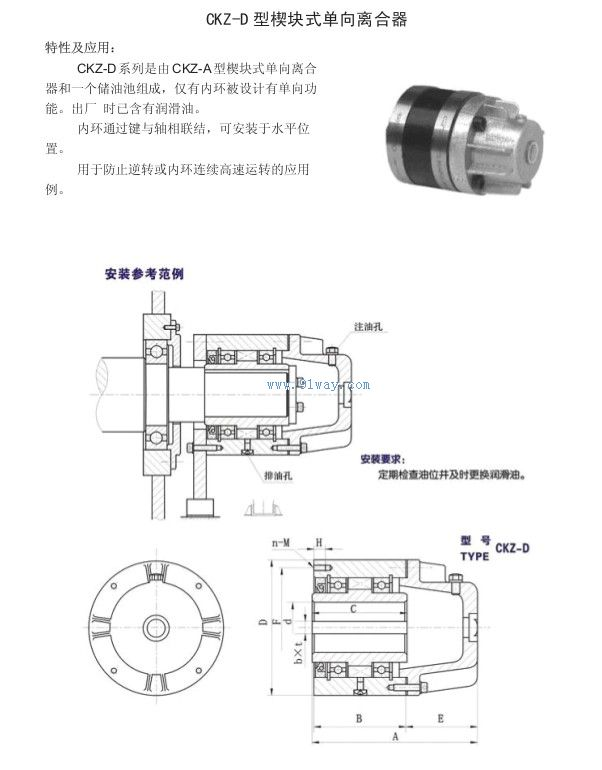 ckz-d型楔块式单向离合器