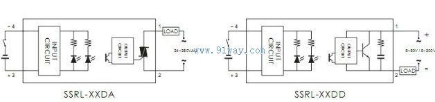 ssrl系列固态继电器接线图