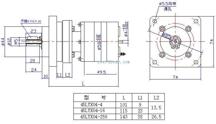 45lyx04稀土永磁直流力矩电动机(带55px减速器)