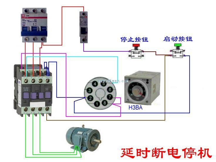 交流接触器控制延时断电停机接线图