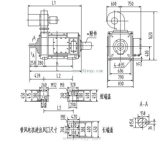 """ZFQZ系列直流电动机是在Z4系列直流电动机的基础上,借鉴ZZJ-800系列直流电动机的主要工艺而开发的系列产品。电机的转动惯量分别为ZZJ-800系列和ZZJ-900系列的45%和65%,适应频繁正逆转和频繁起制动的恶劣工况。电机具有优良的过载特性,其最大转矩和起动转矩分别是ZZJ-800系列和ZZJ-900系列的112%和117%。电机重量仅为ZZJ-800系列的65%。电机功率等级符合IEC34-13《起重、冶金用辅机电动机技术规范》的国际标准。电机外形尺寸除了两底脚孔间轴向尺寸""""B""""之外,均符"""
