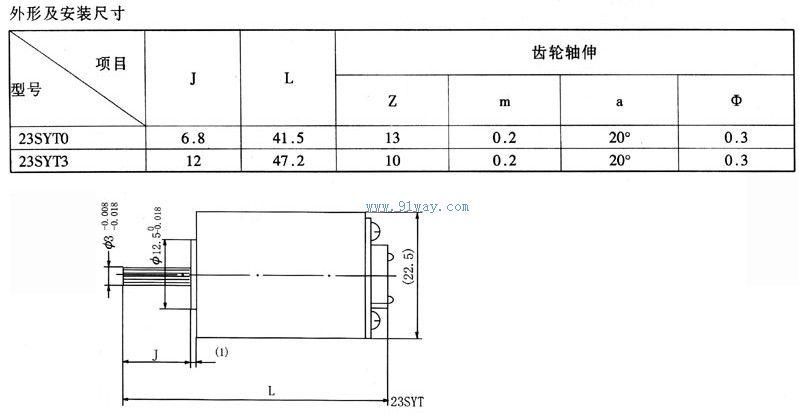 23syt0,23syt3型永磁直流伺服电动机