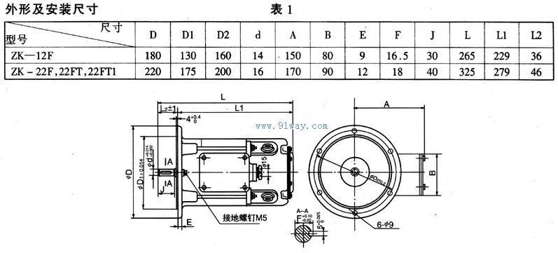 zk-12f型直流伺服电动机安装尺寸