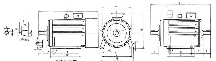 yzpe系列电磁制动变频调速电动机安装尺寸