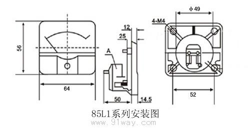 85l1-a系列面板交流电流表