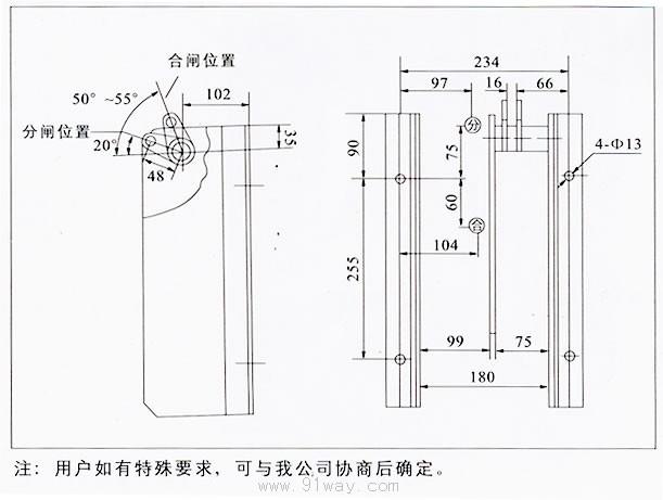 概述 CT19型弹簧操动机构**操作10KV手车柜中ZN28型高压真空断路器及其合闸功与之相当的其他高压断路器之用。 机构合闸弹簧的储能方式有电动机储能和手动储能两种。合闸操作有合闸电磁铁及手动按钮操作两种。分闸操作有分闸电磁铁,过电流脱扣电磁铁及手动按钮操作三种。 机构的规格及其配合的主要部件参数如表: