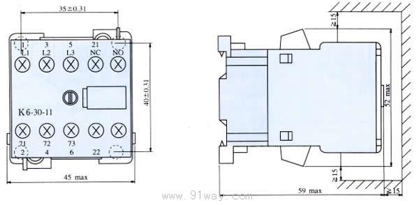 b,k系列交流接触器外形及安装尺寸