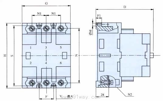 b系列交流接触器安装尺寸5