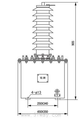 jdzx6-35w2(jdjj2-35)型电压互感器安装尺寸