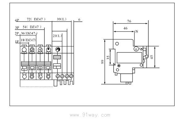 DZ47LE-63系列漏电断路器适用于交流50Hz、额定电流380V,额定电流32(63A) 的线路中,具有漏电触电、过载、短路等保护功能,还可以根据用户的需要啬过压保护功能。 主要用于建筑照明和配电系统的保护。   DZ47LE-63系列漏电断路器