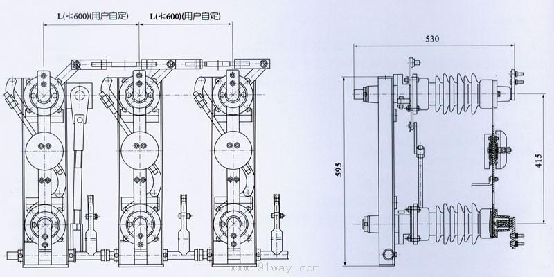 主要结构说明: 隔离开关由底座、绝缘支柱及导电部分以及操动机构等组成。每极有两个支柱,每个支柱上端各装有导电闸刀,两部分闸刀触头接触处在两支柱的中间部位。支柱的下端各装有轴承套,在操动机构的带动下,可使闸刀作水平旋转90度,从而达到分合闸之要求。隔离开关为单极型,也可通过连杆将三极连成能够联动极型式。配用CS11(不接地)、CS8-6D(单接地)、CS17(双接地)型手动机构操作。(可根据需要配电动机构)从上述结构简介中不难看出,本隔离开关结构合理,操动灵活自如;可单极,也可三极使用,安装方便;触刀开距大
