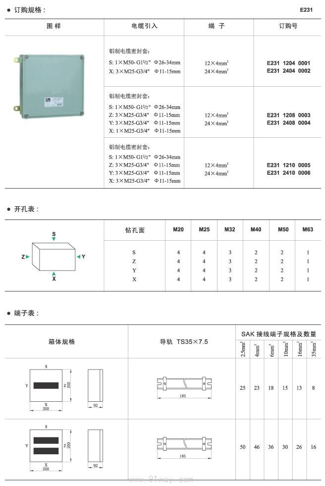 e231防爆接线箱外形尺寸及技术参数