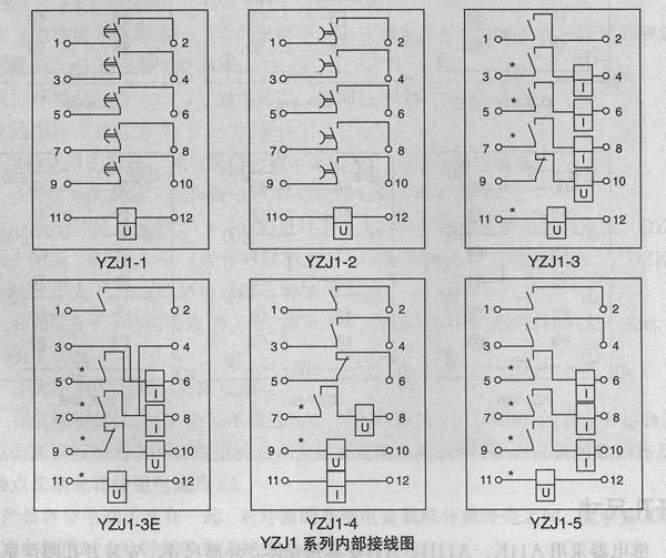 yzji系列延时中间继电器背后端子接线见图