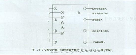 jy-3/1~2型电压监测继电器接线图