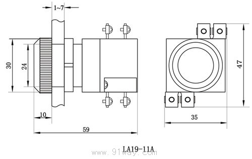 la19-11a系列按钮开关安装尺寸