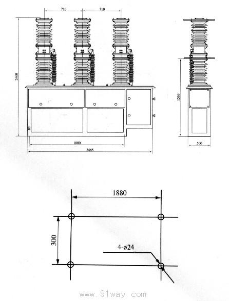 ZW7-40.5系列户外高压真空断路器外形尺寸图2