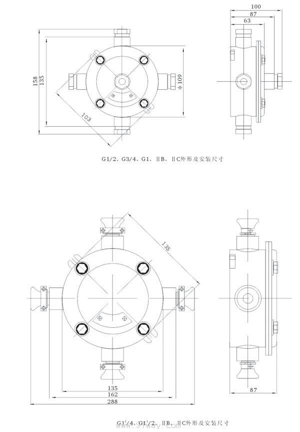 BHD51防爆接线盒(B C)适用范围 .1.1区 2区危险场所. .2.IIA IIB IIC类爆炸性气体环境. * 如要求IIC类或增安型请注明 * 可根据用户要求做成粉尘防爆 产品特点 .铸铝合金外壳,压铸成型,表面喷塑 .进出线口有多种方式及规格,吊盖通头为六角型 .进出线口螺纹可特制 .隔爆面特别增有O型橡胶密封圈,既隔爆有防水,防护等级达到IP65。 BHD51防爆接线盒(B C)型号含义  主要技术数据 BHD51 系列隔爆型接线盒代号,外形及名称一览表