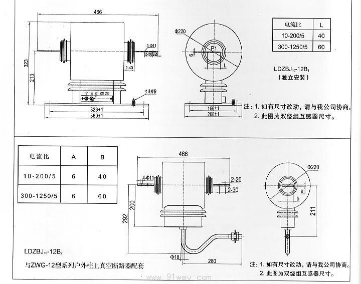 LDZBJ10-12型互感器为环氧树脂浇注,硅橡胶压注复合绝缘,具有精度高、爬电距离大,局部放电小。适用于额定频率为50HZ或60HZ,额定电压为10KV的户内、户外装置的电力系统中作电气测量和电气保护用,也可独立安装。本系列产品为我公司的专利产品。 LDZBJ10-12B型电流互感器技术参数 产品符合 GB1208-1997 和 IEC44-1 : 1996 额定绝缘水平:12/42/75KV 额定二次电流: 5A 或 1A ( S 级仅限二次电流为 5A 的电流互感器) 额定一次电流,准确级组合及相应