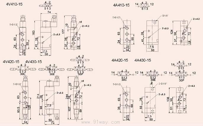 4v400系列电磁阀,气动阀; 电磁阀画法; 气动电磁阀电气符号_裕安图片