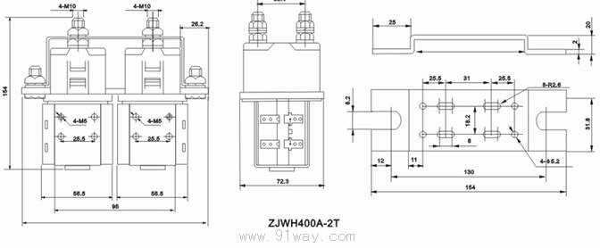 使用条件 1、环境温度:-25~+40; 2、海拔高度:0~2000米; 3、25最大相对湿度:90%; 4、固定处的振动:10~50Hz,10m/s2; 5、冲击:30m/ s2; 6、安装方向:任意 7、电源电压波动范围:0.7-1。1Ue 8、工作制:8H长时 外型安装图  线路原理图  ZJWH400A-2T直流接触器型号含义