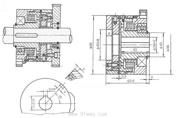 dlyd系列牙嵌式电磁离合器结构图及安装尺寸