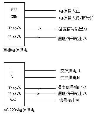 pkws系列温湿度变送器接线图